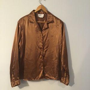 Vintage 90s Copper Satin Polyester Blouse